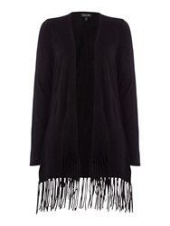 Episode Long Sleeve Knitted Cardigan With Fringing Black