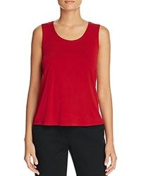 Eileen Fisher Scoop Neck Silk Tank China Red