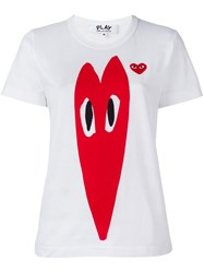 Comme Des Garcons Play Stretch Logo Print T Shirt White