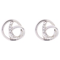 Karen Millen Swarovski Crystal Ribbon Stud Earrings Silver