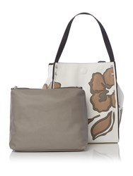 Marella Timo Leaf Detail Tote Bag Brown