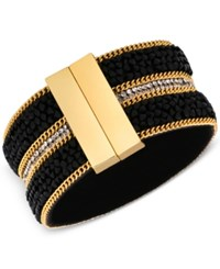 Guess Mixed Media Magnetic Cuff Bracelet Gold Crystal