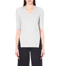 Whistles V Neck Ribbed Top Grey