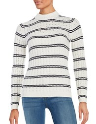 French Connection Striped Ribbed Sweater Winter White