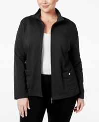 Karen Scott Plus Size Quilted Trim Lounge Jacket Only At Macy's Deep Black