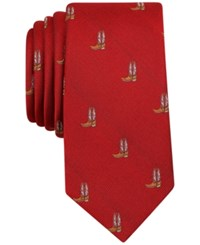 Bar Iii Men's Cowboy Boot Print Tie Only At Macy's Red
