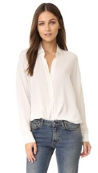 Vince Long Sleeve V Neck Blouse Off White