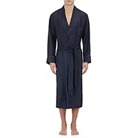 Barneys New York Men's Piped Dotted Silk Robe Navy