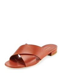 Mansur Gavriel Leather Crisscross Flat Slide Sandal Brandy