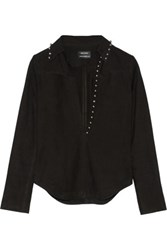 Anthony Vaccarello Studded Nubuck Top Black