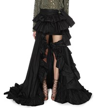 Roberto Cavalli Ruffled Full Length Silk Skirt Nero