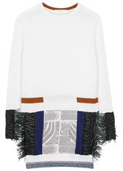 Toga Pulla White Fringed Cotton Jumper Dress