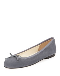 French Sole Crystal Suede Ballet Flat Peltre Dark Grey