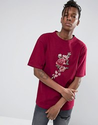 Jaded London Oversized T Shirt With Floral Print Burgundy Green