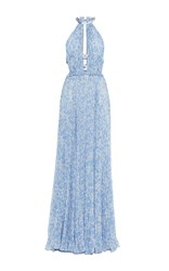 Luisa Beccaria Georgette Plisse Printed Dress With Grois Grain Details Blue