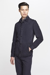 Salvatore Ferragamo Suede Shirt Jacket Navy