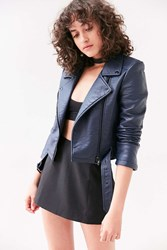 Silence And Noise Pebbled Belted Biker Jacket Navy