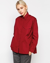 See By Chloe Envelope Pocket Long Sleeve Shirt Burgundy