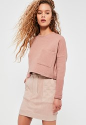 Missguided Nude Faux Suede Quilted Pocket Stud Detail Mini Skirt Tan