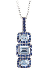 Sterling Silver Aquamarine And Sapphire Triple Window Pendant Necklace White