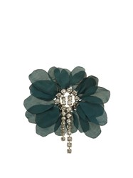 Lanvin Floral Embellished Brooch Dark Green
