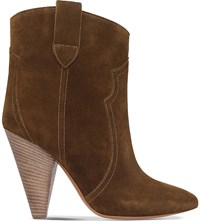 Isabel Marant Roxann Suede Heeled Ankle Boots Mid Brown
