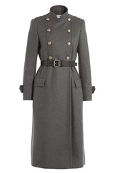 Philosophy Di Lorenzo Serafini Wool Coat With Belt And Embossed Buttons Grey