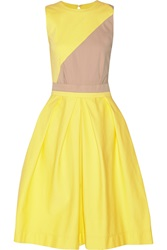 Preen Line Color Block Stretch Cotton Dress Yellow