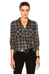 Enza Costa Hi Lo Top In Gray Checkered And Plaid Gray Checkered And Plaid