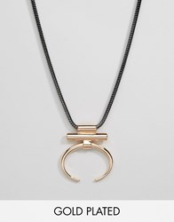 Pilgrim Geometric Open Hoop Necklace Rose Gold