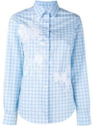 Alice Archer 'Bernadette' Floral Checked Shirt Blue