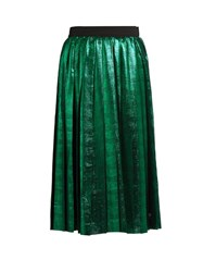 Muveil Metallic Pleated Skirt Green