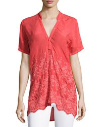 Johnny Was Tulia Short Sleeve Embroidered Georgette Blouse Women's