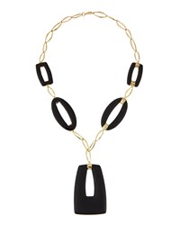 Alexis Bittar Golden Geometric Lucite Pendant Necklace Black