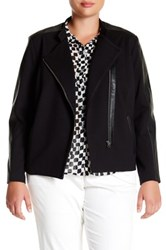 Nydj Faux Leather And Ponte Moto Jacket Plus Size Black
