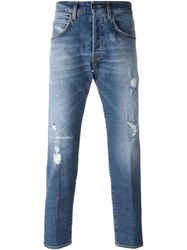 People People Distressed Slim Fit Jeans Blue