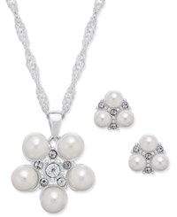 Charter Club Silver Tone Imitation Pearl Cluster Pendant Necklace And Earrings Set Only At Macy's