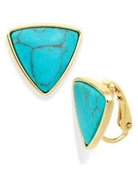 Lauren Ralph Lauren Gold Tone Reconstituted Turquoise Triangle Clip On Earrings
