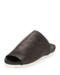 Charles David Dante Leather Slide Sandal Black