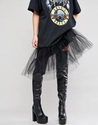 Asos Keats Platform Over The Knee Boots Black