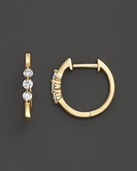 Bloomingdale's Diamond 3 Stone Huggie Hoop Earrings In 14K Yellow Gold .24 Ct. T.W. Yellow Gold White Diamonds