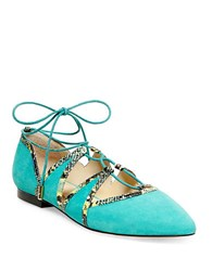 Brian Atwood B Sanaa Suede Ghillie Flats Teal