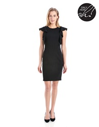 424 Fifth Flutter Sleeved Sheath Dress Black