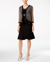 R And M Richards Embellished Sequin Mesh Dress Jacket Black Grey