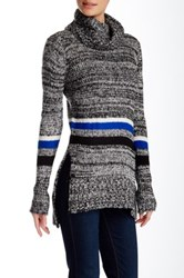Romeo And Juliet Couture Striped Turtleneck Sweater Blue