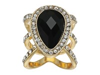 Guess Faceted Pear Shape Stone Ring Jet Gold Crystal Ring Multi