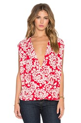 Velvet By Graham And Spencer Cayne Printed Challis Cross Front Tank Red