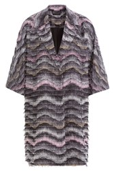 Diane Von Furstenberg Woven Coat With Fringe Multicolor