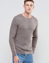 Asos Muscle Fit Jumper In Merino Wool Mix Ivory Brown