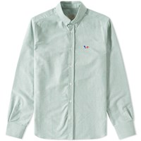 Maison Kitsune Button Down Classic Tricolour Fox Oxford Shirt Green